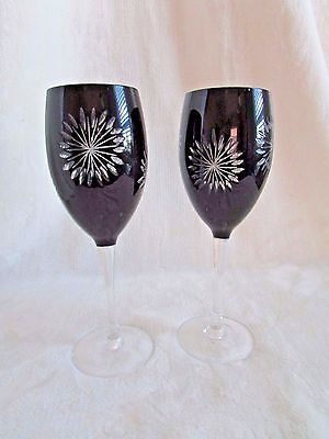 "Pair Of Elegant Black Cut To Clear Crystal Glass 8.5"" Wine Glasses"