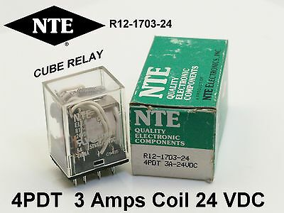 cube relay NTE Cube R12-1703-24  r12170324 4PDT 3Amps 24VDC coil