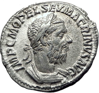 MACRINUS 217AD Rome RARE Authentic Ancient Silver Roman Coin FELICITAS i65260