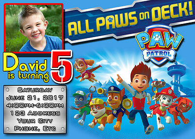 Paw Patrol Birthday Invitations Invite Custom Personalized