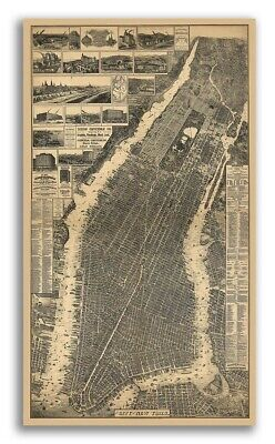 1879 New York City, New York Vintage Old Panoramic NY City Map - 24x42