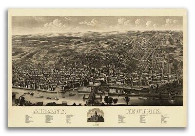 1879 Albany New York Vintage Old Panoramic NY City Map - 20x30
