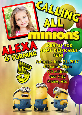 Minion Birthday Invitations Invite Custom Personalized
