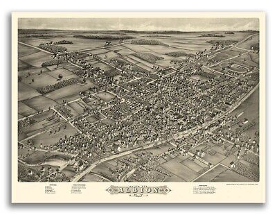 1880 Albion New York Vintage Old Panoramic NY City Map - 18x24