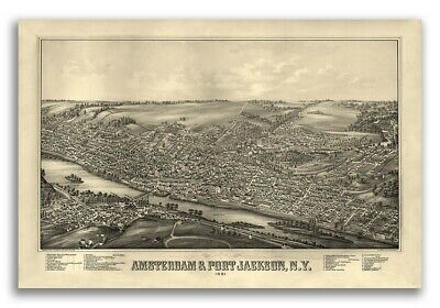 1881 Amsterdam & Port Jackson New York Vintage Old Panoramic NY City Map - 20x30