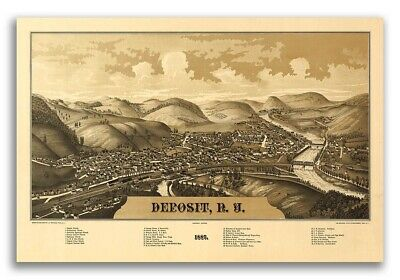 1887 Deposit New York Vintage Old Panoramic NY City Map - 20x30