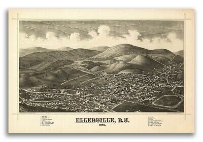 1887 Ellenville New York Vintage Old Panoramic NY City Map - 20x30