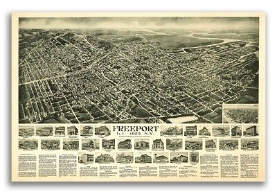 1925 Freeport New York Vintage Old Panoramic NY City Map - 16x24