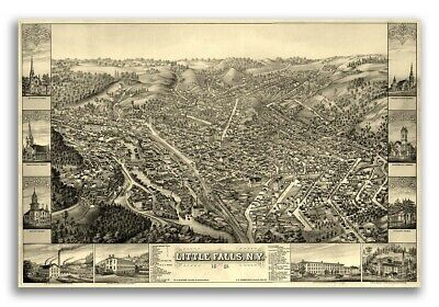 16x24 1882 Ithaca New York Vintage Old Panoramic NY City Map