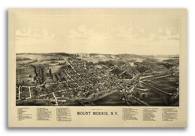 1893 Mount Morris New York Vintage Old Panoramic NY City Map - 16x24