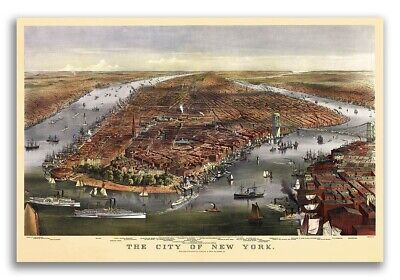 1870 New York City, New York Vintage Old Panoramic NY City Map - 16x24