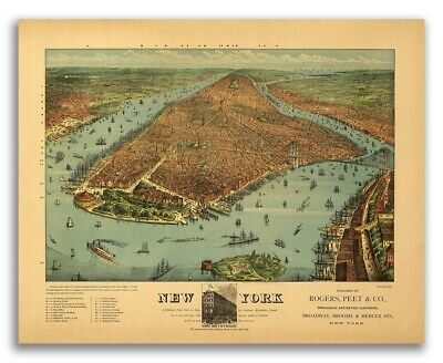 1879 New York City, New York Vintage Old Panoramic NY City Map - 24x30