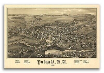 1885 Pulaski New York Vintage Old Panoramic NY City Map - 20x30