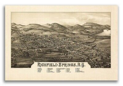 1885 Richfield Springs New York Vintage Old Panoramic NY City Map - 20x30
