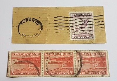 1942 Newfoundland Stamp Canadian Postage Mills Caribou Monarch Used On Paper