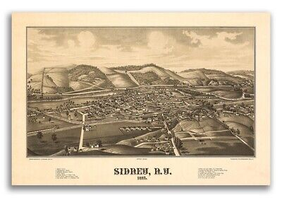 1887 Sidney New York Vintage Old Panoramic NY City Map - 20x30