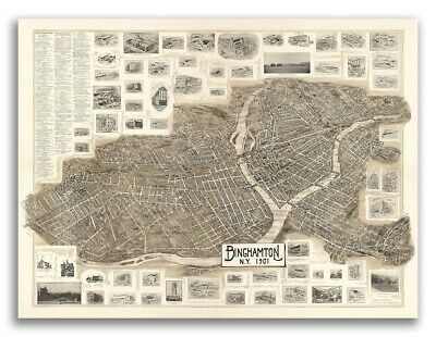 1901 Binghamton New York Vintage Old Panoramic NY City Map - 20x28