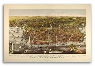 1879 Brooklyn New York Vintage Old Panoramic NY City Map - 16x24