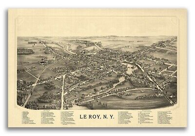 1892 Le Roy New York Vintage Old Panoramic NY City Map - 24x36