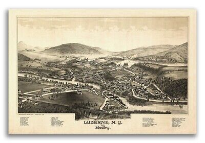 1888 Luzerne New York Vintage Old Panoramic NY City Map - 20x30