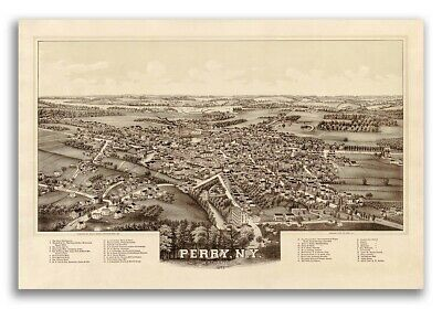 1892 Perry New York Vintage Old Panoramic NY City Map - 16x24