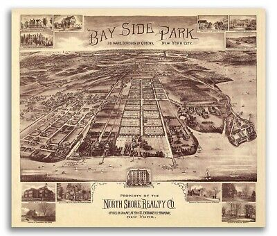 Queens Bayside Park New York 1915 Historic Panoramic Town Map - 16x20