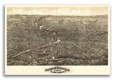 1880 Rochester New York Vintage Old Panoramic NY City Map - 20x30