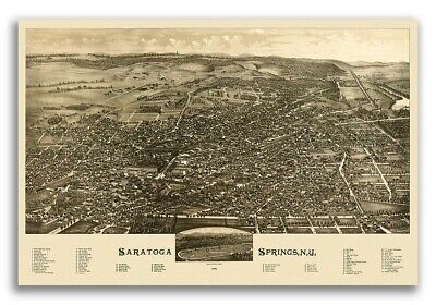 1888 Saratoga Springs New York Vintage Old Panoramic NY City Map - 20x30