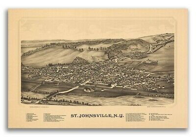 1890 St. Johnsville New York Vintage Old Panoramic NY City Map - 20x30