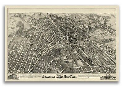 1874 Syracuse New York Vintage Old Panoramic NY City Map - 24x36