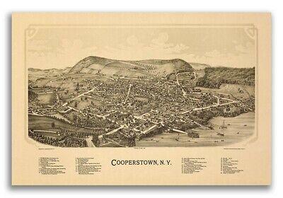 1890 Cooperstown New York Vintage Old Panoramic NY City Map - 20x30