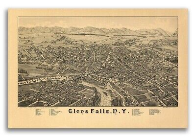 1884 Glens Falls New York Vintage Old Panoramic NY City Map - 20x30