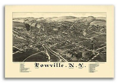 1885 Lowville New York Vintage Old Panoramic NY City Map - 16x24