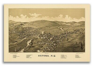 1888 Oxford New York Vintage Old Panoramic NY City Map - 16x24