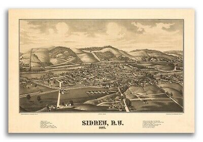 Sidney New York 1887 Historic Panoramic Town Map - 16x24