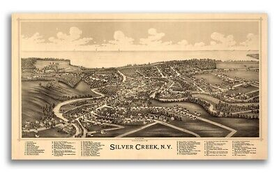 1892 Silver Creek New York Vintage Old Panoramic NY City Map - 24x42