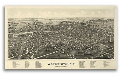 1891 Watertown New York Vintage Old Panoramic NY City Map - 14x24