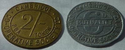 2 x Cambridge Co-op tokens 2/- & a 6d - oval - brass and aluminium