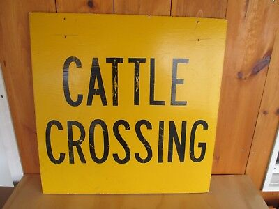 Vtg Wooden Cattle Crossing Sign Farm Country Cottage Man Cave Decor Barn Find