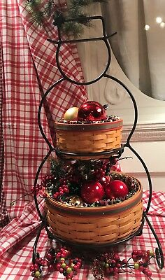 Longaberger Wrought Iron Snowman Stand With 2 Baskets & Liners Winter Primitive