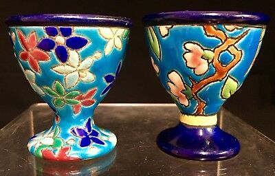 Lot of 2 Antique Longwy French Pottery Floral Egg Cup Holders Rare Estate Find!