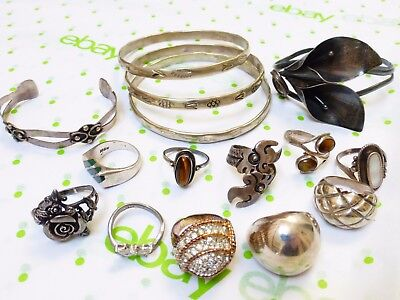 Sterling Silver Rings and Bangles, Lot of 133 grams