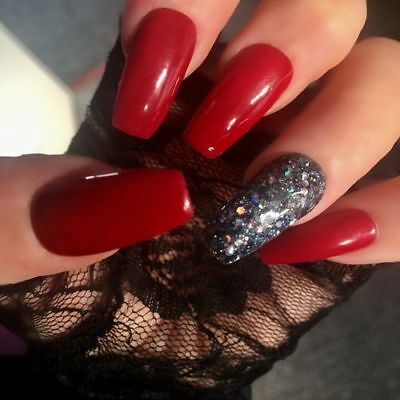 Hand Painted Gel False Nails Red Coffin Full Cover Tips - Press On Nails
