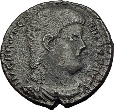 MAGNENTIUS w Chi-Rho 350AD Trier RARE Authentic Ancient Roman Coin i65286