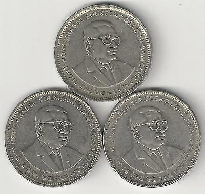 3 DIFFERENT 1 RUPEE COINS from MAURITIUS (1997, 2002 & 2008)