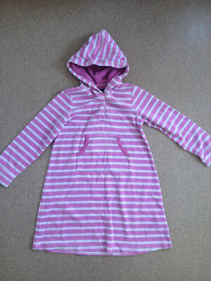 Girls Mini Boden Velour Striped Hoodie Dress Size 7-8 Y Pink & Light Blue