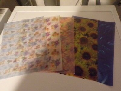 5 X Vellum Sheets In Different Styles   29X21 Cm New New (Vs59A)