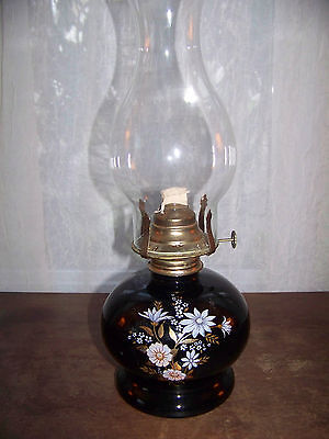 Oil Lamp with Chimney Hurricane Lantern Floral Unused Black glass Floral, Wick