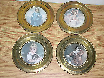 """Lot Of 4 Vintage 5.75"""" Brass Foil Tin Wall Hanging Plates, Made In England"""