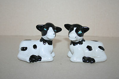 Vtg Hand Painted Spotted Black & White Dairy Calves Cows Salt & Pepper Shakers
